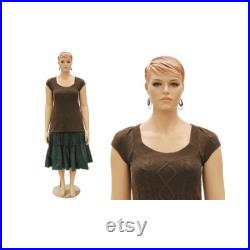 Plus Size Adult Female Mannequin with Realistic Facial Details and Molded Hair with Base Included AVIS