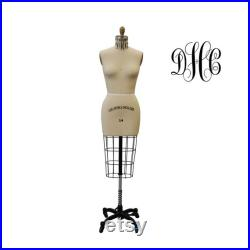 Plus Size Half Body Professional Dress Form with Base Sizes 14, 16, 18, 20 Personalized Dress Form Option Monogram