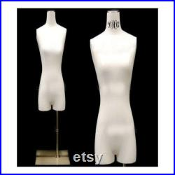 Pure White Linen Female Body Form with Legs and Base Personalize Option Monogram