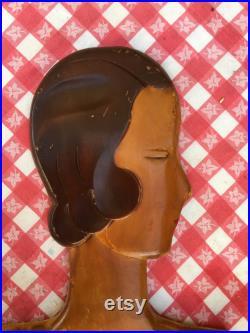 RARE 1930s Mannequin, Art Deco Woodikin Head and Torso, Store Display