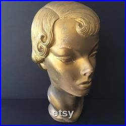 Rare Hard To Find Vintage Department Store Composition Flapper Style Mannequin Head Painted Gold, As Found
