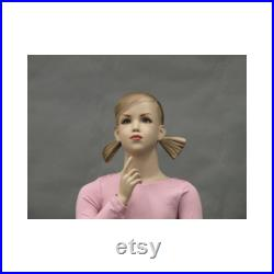 Realistic 7 Year Old Child Girl Fiberglass Mannequin with Face and Molded Hair 509F