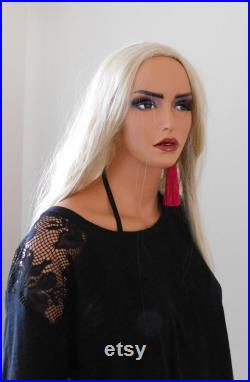Realistic Adult Female Full body Mannequinn . Used once . Fleshtone . Random wig included . Base . Detachable part for easy dressing .