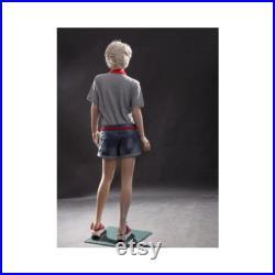 Realistic Female Junior Kids Fleshtone Full Body Fiberglass Mannequin with Base SK03