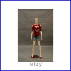 Realistic Fleshtone Full Body Fiberglass Junior Teen Girls Mannequin with Molded Hair and Base LINDA
