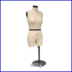 SIZE 14 Half Scale Dress Form for Sewing, 1 2 Mini Dressmaker Dummy for Pattern Maker, Female Tailor Mannequin for designer,Bust 52cm