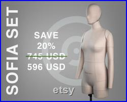 SOFIA FULL SET save 20 Soft anatomic tailor dress form with arms, head, rotation retainer and stand Fully pinnable mannequin