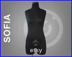 SOFIA Soft anatomic tailor dress form with legs and construction lines with optional stand Mannequin torso Fully pinnable dressform