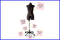 Sewing Dress form Soft Flexible Fully Pinnable Professional Female Mannequin with Adjustable Stand Mannequin torso Monica Light Black