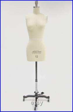 Size 12 Female Professional Tailors Dress Form with Collapsible Shoulder