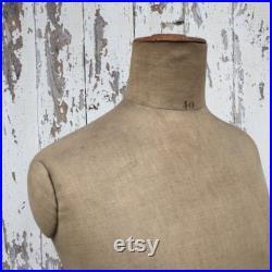 Slim EDWARDIAN French MANNEQUIN DRESSFORM Mannekin Linen Hemp Store Boutique Display 1910-20