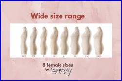 Soft Flexible Fully Pinnable Professional Female Sewing Dress Form Mannequin with Arms, Legs, Head and Overlays Monica Luxe Beige