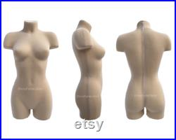 Soft fully pinnable professional female dress form with anatomic detailing and legs