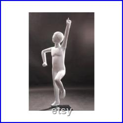 Toddler Abstract Fiberglass Glossy White Faceless Mannequin with Base TOM3