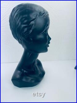 Twiggy head Twiggy bust wig head hat stand, black 60s 70s Item-No. 602