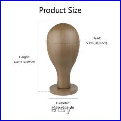 Unisex Plastic Head Mannequin for Jewelry Necklace,Classic wood grain effect Wooden Head Stand for Wig Hat Display, ABS Head Model, Brown
