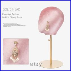 Velvet mannequin head Wig Hat stand,female pink suede Maniqui,fabric cloth headpiece jewelry display props head block foam dress form model