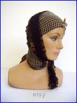 Vintage 1930's Lady Mannequin Head Store Display Manniquin Head Display Halloween Gypsy Hat Display Old Dept Store Mannequin Head