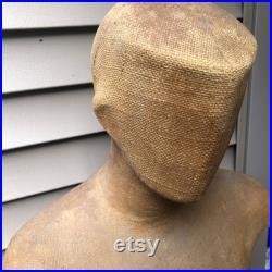 Vintage Burlap Fiberglass Male Mannequin Torso Head Faceless Modern Funky Decor