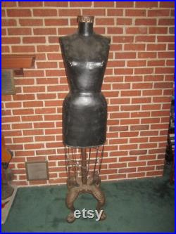 Vintage Fabulous 34x24x35 Standing Store Display Dress Form Mannequin with Cast Iron Clawfoot Base