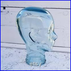 Vintage Green Gallery Style Glass Mannequin Head