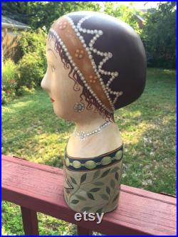Vintage Hand Painted Millinery Plaster Head- Mme De Chelles Made in Phillipines Hats, Wigs French Display Decorative Art Mannequin-Fun