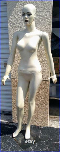 Vintage Life Size Female Woman Lady Store Display Mannequin Statue Figure and Base