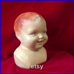 Vintage Mannequin Bust Head Baby Toddler Bust Hat Bonnet with Two Top Teeth Plaster Chalkware