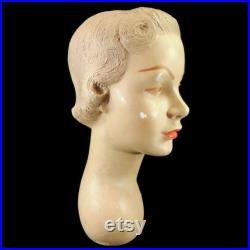 Vintage Mannequin Head Bust hat store display, plaster, 84, 1940s, light hair, brown eyes, French collectible, young woman, lady, form