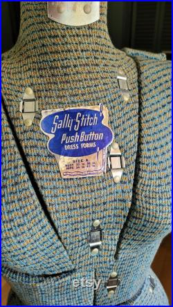 Vintage Sally Stitch Push Button Adjustable Dress Form in Size A