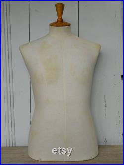 Vintage Tailors Dummy Tabletop Stockman Male Mannequin Model French Made in Paris A