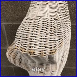 Vintage Wicker Mannequin Female Torso Body Dress Form