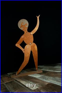 Vintage large wooden woman, stand, 1920s style adjustable dancing lady wood figure, posable jointed silhouette mannequin
