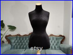 Wasp Waist Mannequin Black Velvet Torso with Stand Dress Form Jewelry bust display Torso paper mache Dummy pinnable Vintage French style