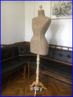 Wasp Waist Mannequin Torso Burlap Vintage French Style Dress Form Jewelry bust display Torso paper mashe Tailor Dummy Jewelry Holder pinable