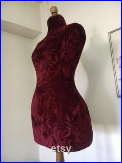 Wasp Waist Mannequin Velvet Torso Vintage French Style Dress Form Jewelry bust display Torso paper mashe Tailor Dummy Table Top pinable