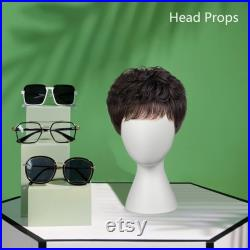 White Female Wig Head Mannequin, Dressmaker Dummy Head Block Fiberglass Stand for hair jewelry Display, Fashion Head Maker Wedding Ornament