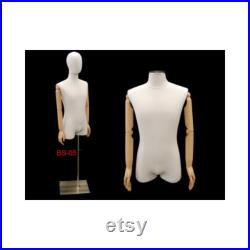 White Linen Male Dress Form Body Form Mannequin with Articulated Arms and Removable Head Base Included M1WLARM