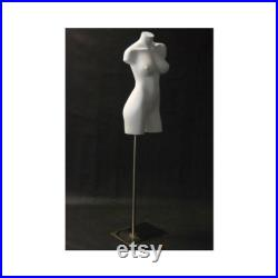 Women's Adult Fiberglass Matte White Mannequin 3 4 Torso with Shoulders and Thighs Includes Base AD1W