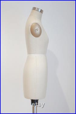 Women's Half Scale Dress Form Pinnable 1 2 Tailor Female Mannequin for School Beige sewing mini mannequin standard size UK8 10