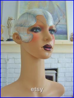 art deco vintage boutique style flapper mannequin head wig jewellery display shop 1920 nouveau doll oak headdress performer arts and crafts