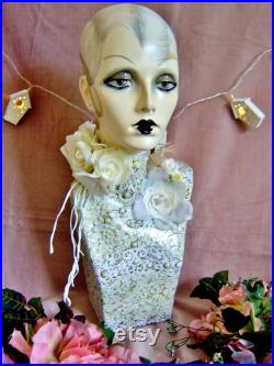 art deco vintage style flapper mannequin head wig jewellery display shop 1920 nouveau doll oak headdress performer arts and crafts
