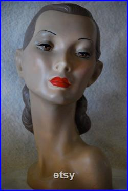 mannequin head, vintage head, display head, mannikin head, rare head, hat display, jewelry display, , milliners, antiques, mannequin art