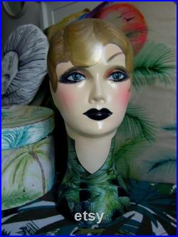 pretty doll shop display mannequin head art deco statue theatre prop beautiful wig jewellery hat stand display shop ornament pretty girl