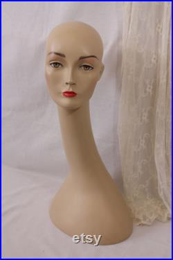 vintage swan neck mannequin head with make-up,circa 1980s,female mannequin head ,hard plastic, hat display, wig display,collectable